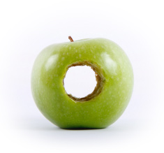 Photo: an apple with a hole missing