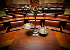 Photo: Scales of justice in a courtroom