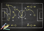 Photo: Sports tactics on a chalkboard